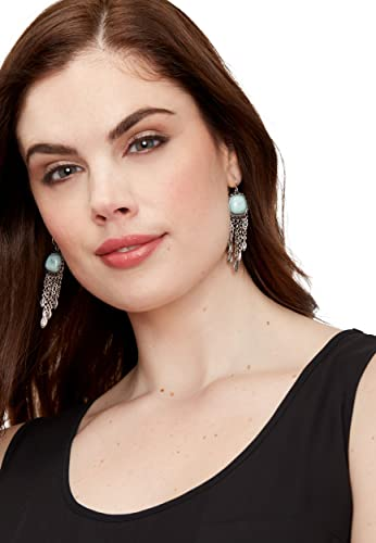 Silver Jeans Co Blue Stone Chain Earrings