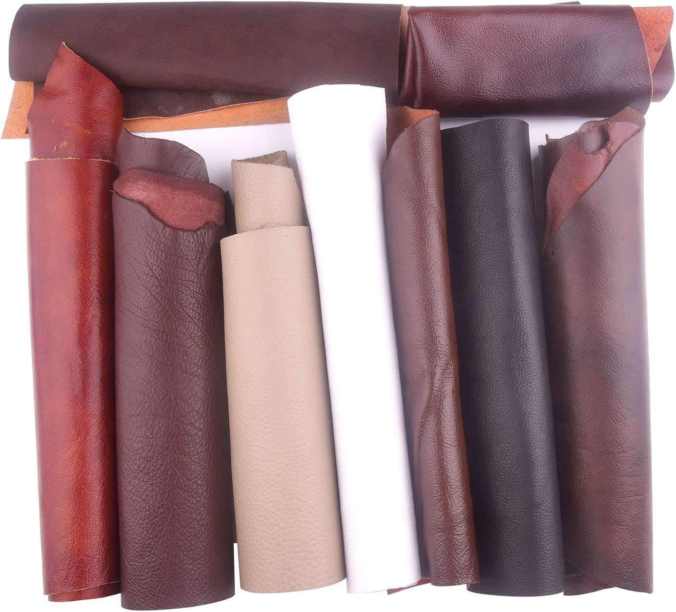 TUPARKA 1 kg de retales de cuero para manualidades de artesanía Varios tamaños de cuero de desecho de calidad mixta para trabajos artesanales