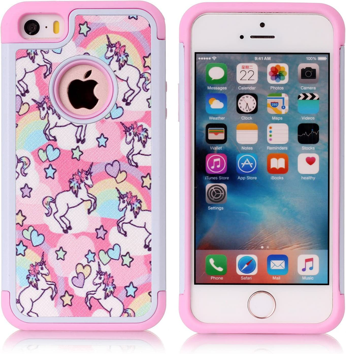 Iphone 5S Case, Iphone SE Case, Rainbow Unicorn Patchwork Pattern Shock-Absorption Hard PC and Inner Silicone Hybrid Dual Layer Armor Defender Protective Case Cover for Apple iphone 5/5S iphone SE