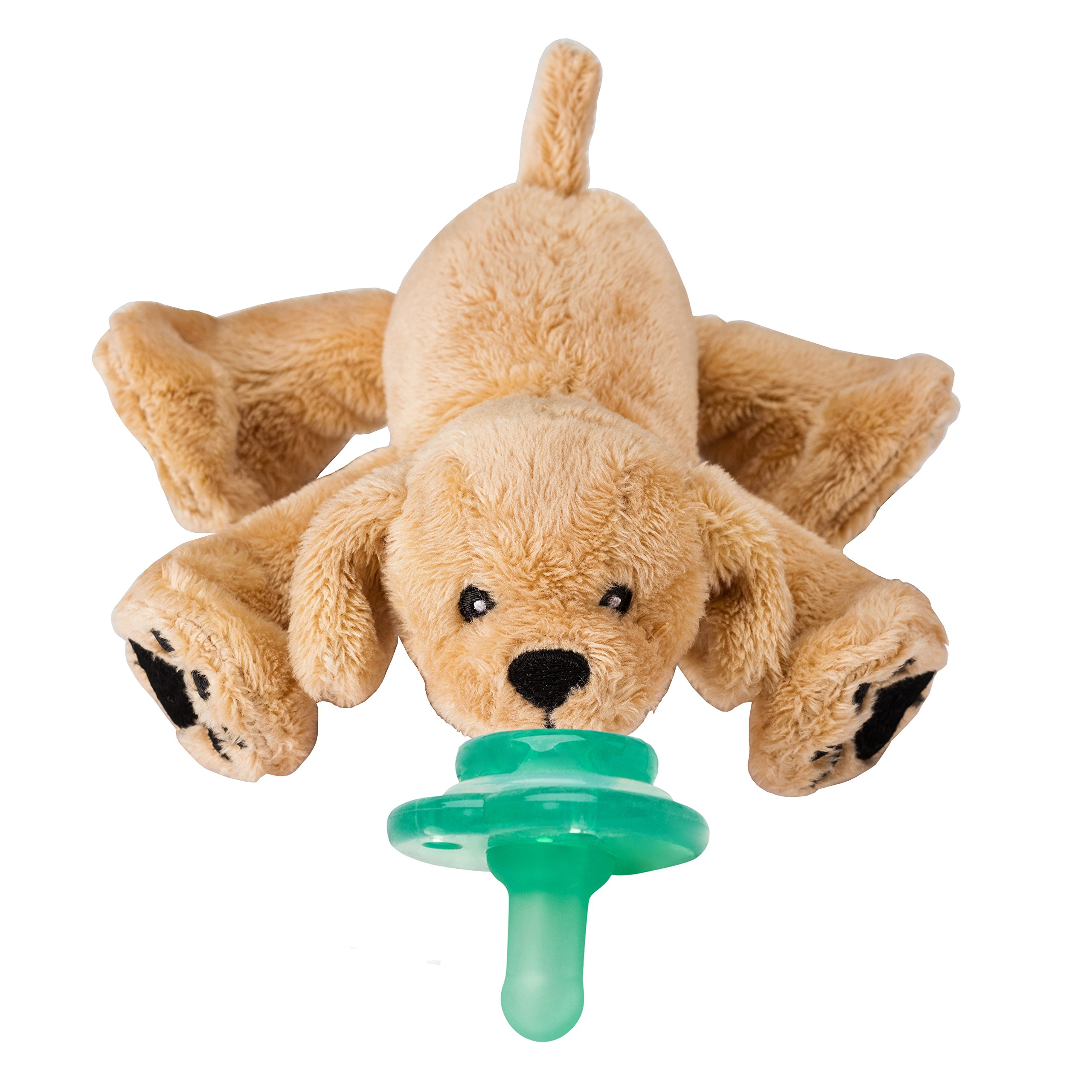 Nookums Paci-Plushies Retriever Buddies - Pacifier Holder (Plush Toy Includes Detachable Pacifier, Use with Multiple Brand Name Pacifiers)