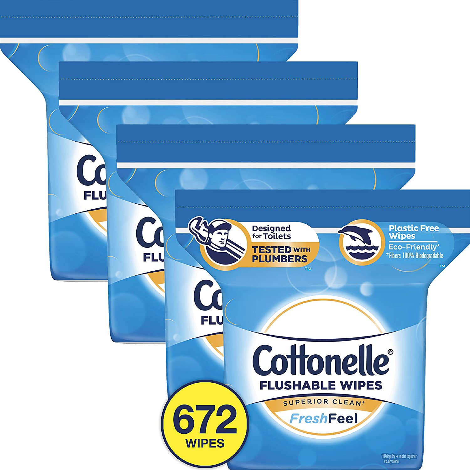 Cottonelle FreshCare Flushable Wet Wipes for Adults, Alcohol Free, 168 Wipes per Resealable Pack (672 Wipes Total)