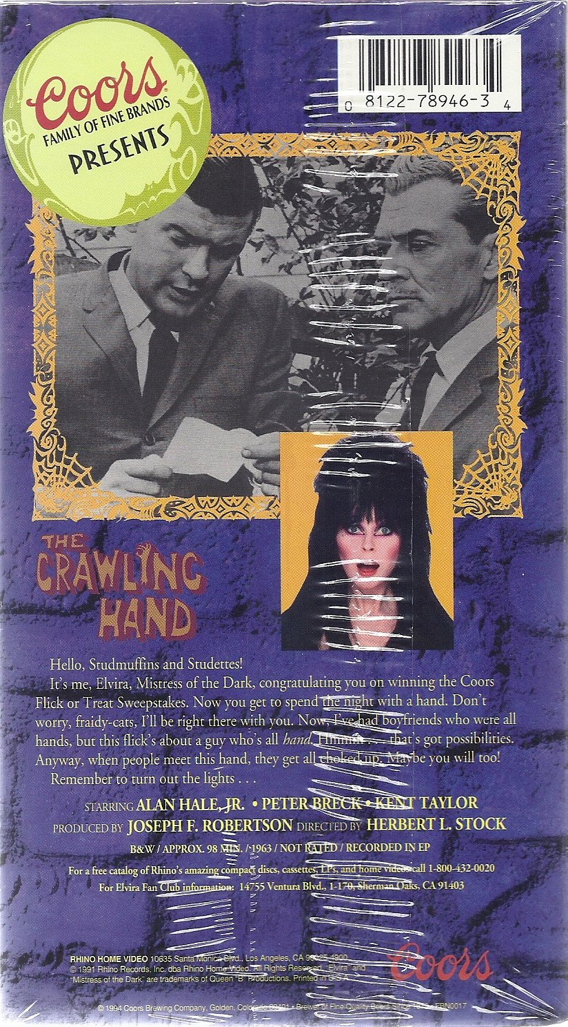 The Crawling Hand Elvira Mistress Of Dark Jr Possessedhand Will Move Your For You Alan Hale Peter Breck Kent Taylor Joseph F Robertson Movies Tv
