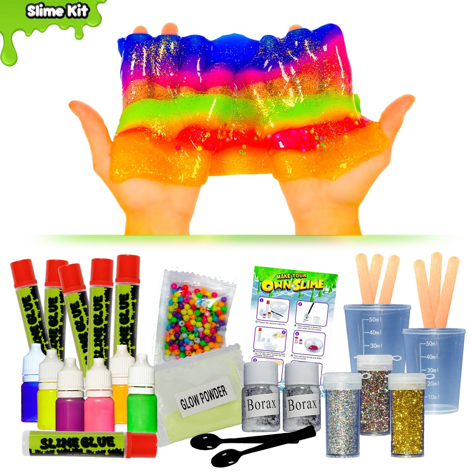 OzBSP Make Your Own Slime DIY Slime Kit - for Kids, Girls & Boys | Glow in the Dark Slime, Beads, Glitter & Neon Colored Crystal Slime | All you need to make 6 batches of Slime | Fun STEM Science Kit