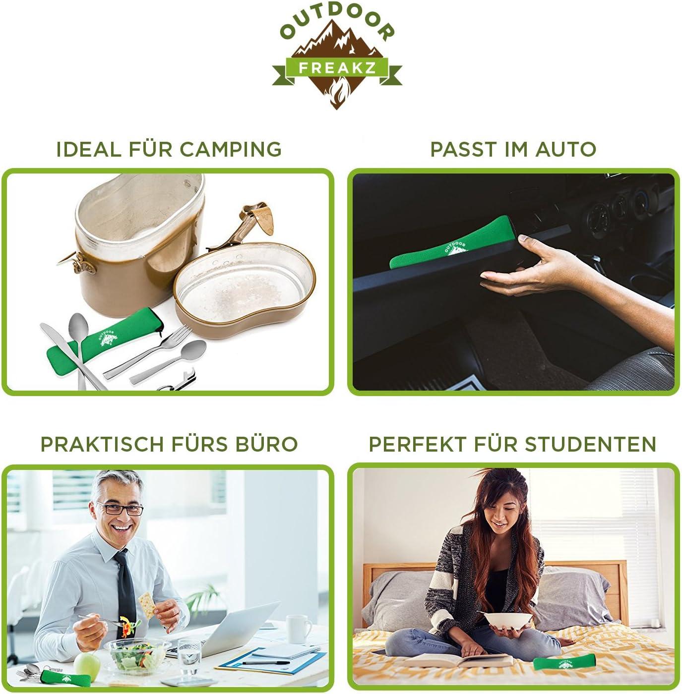 Couverts de campingOUTDOOR FREAKZ Couverts de Camping en Acier Inoxydable avec Sac en néoprène 4pack +