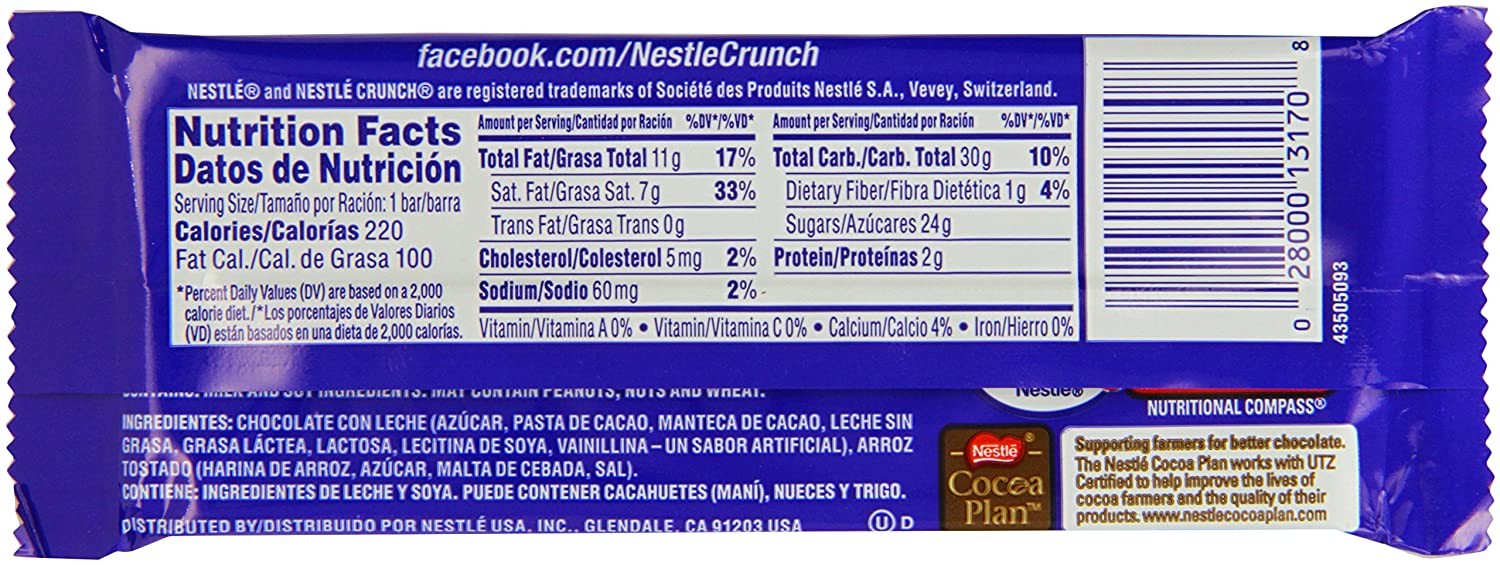 Amazon.com : Nestle Crunch Bar 43.9 g (Pack of 5) : Grocery & Gourmet Food
