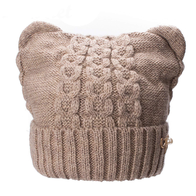 Winter Hats Skullies Bow Brooch Wool Blend Hat Soft Warm Fleece Inside Knitted Hat Cat Ear Pussy Bonnet Cap