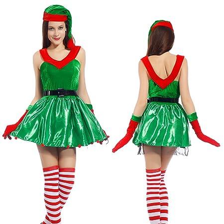 Cosplay Costume Tavestimento Halloween Natale Elfo Donna Cappello + Vestito  + Guanti Verde Rosso  Amazon.it  Giochi e giocattoli f5f59e516d5f