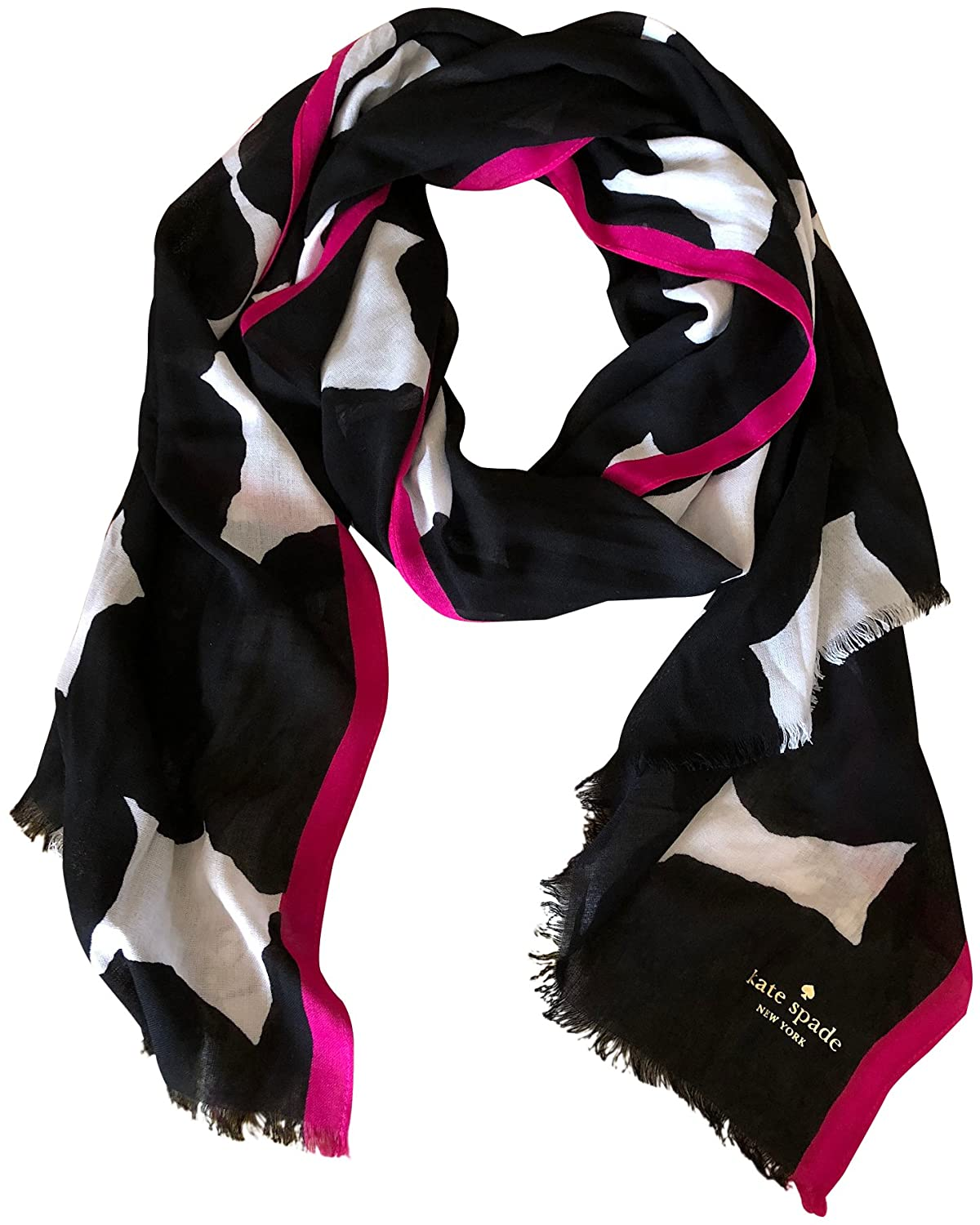 Kate Spade Woman's Blot Dot Oblong Scarf Black White