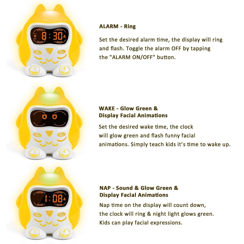 Kids Alarm Clock, Wake up Light Alarm Clock, Children Sleep Trainer, White  Noise Machine with 9 Sounds, 7 Color Night Light, Dimmer, Nap Timer,