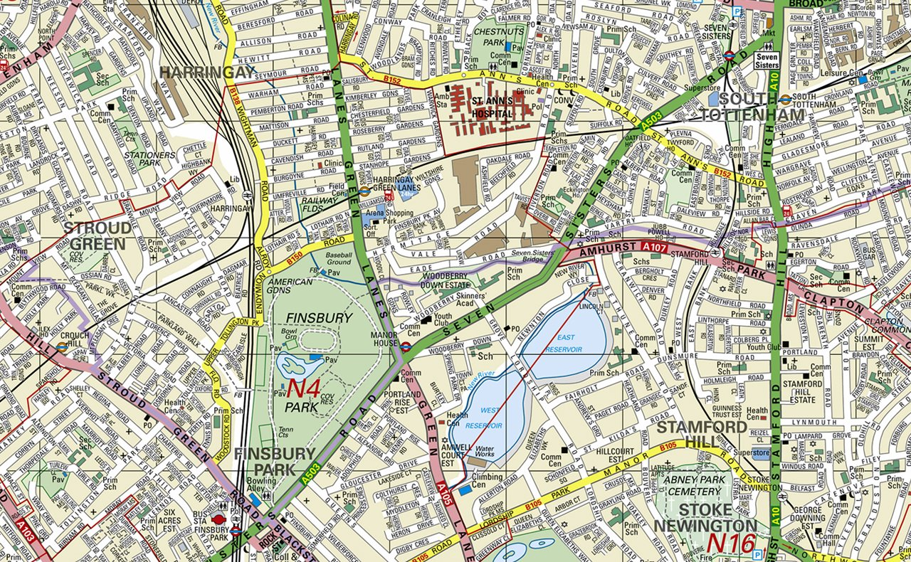 130 x 130 cm Wall Map of London