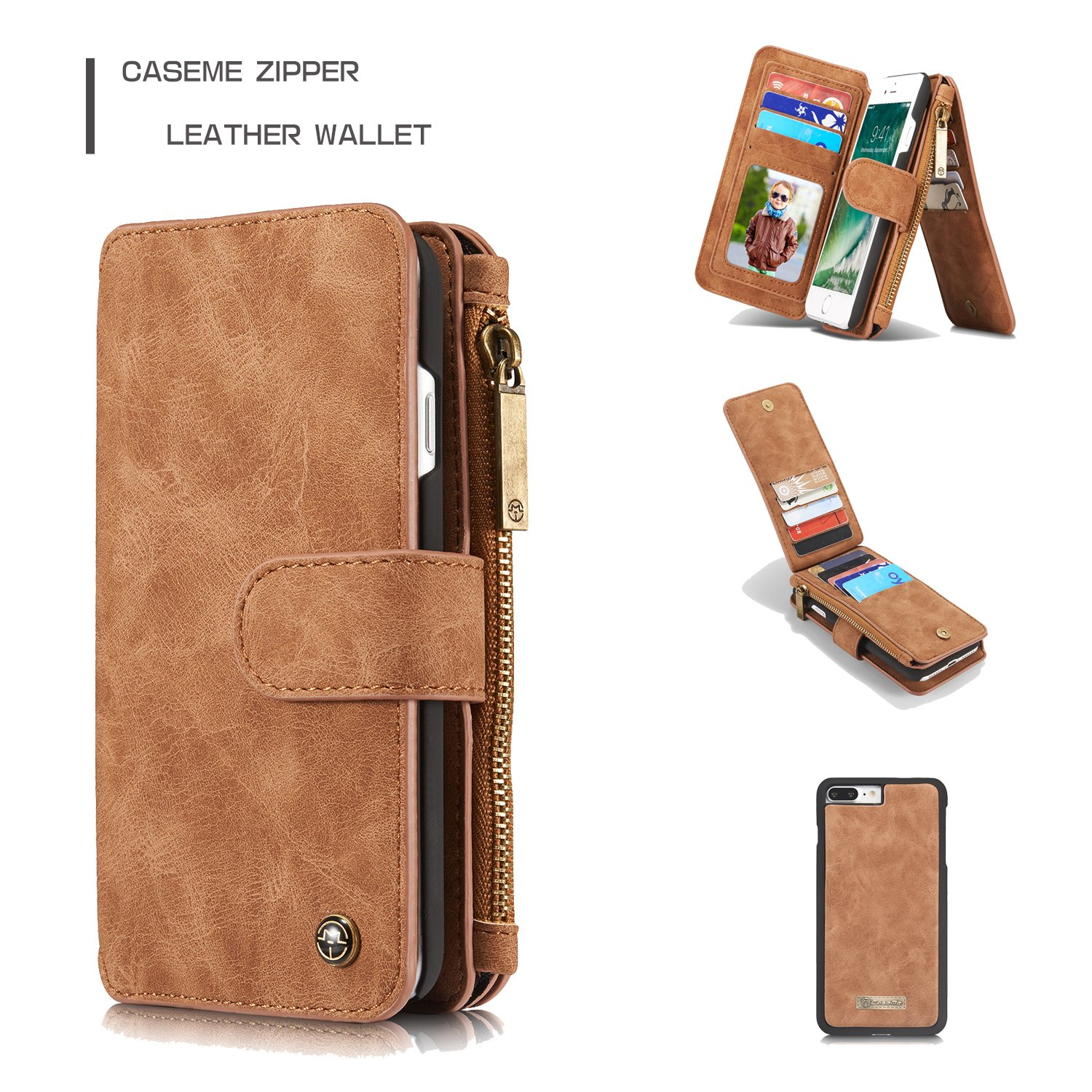 ab5a4ef3e Amazon.com: iPhone 7 Plus Case, Caseme 007 2 in 1 Split Multi-Slot Wallet  Real Leather Cover Case for iPhone 7 Plus (Brown): Cell Phones & Accessories