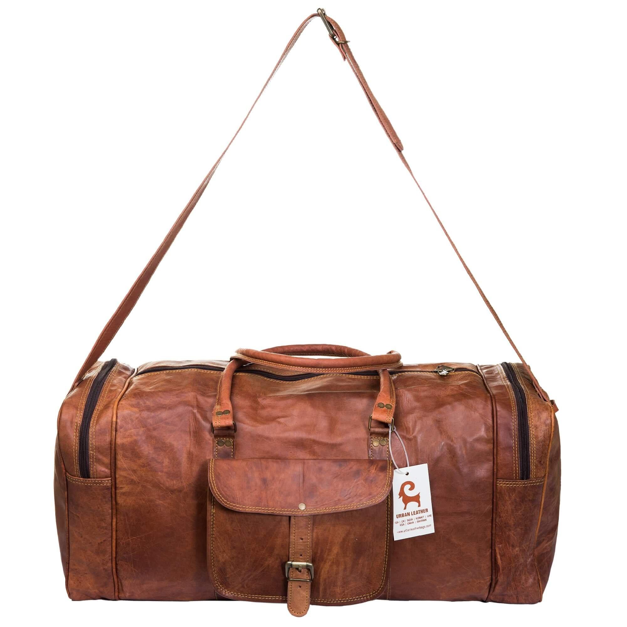 Urban Leather Handmade Travel Duffle Bag Vintage Retro Style Bag Overnight Weekender Bag Size 24 Inch