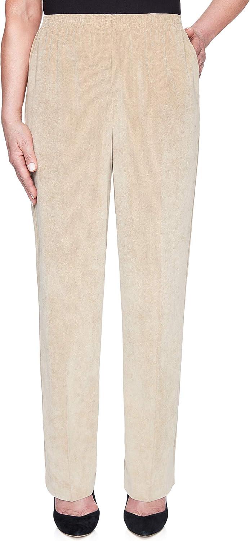 Alfred Dunner Womens Petites Solid Smocked Corduroy Pants Beige 16P