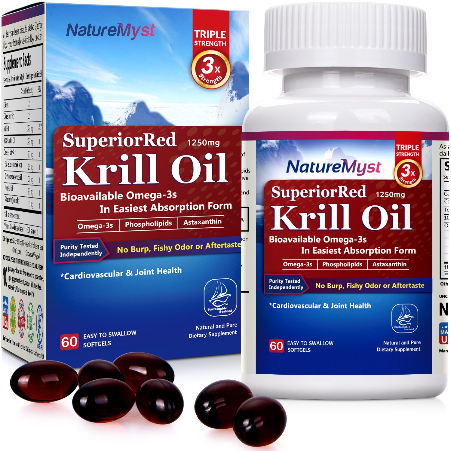 Professional Grade Krill Oil, 1250mg, 60 Liquid Softgels (Cut One in Half to See the Clear Difference)