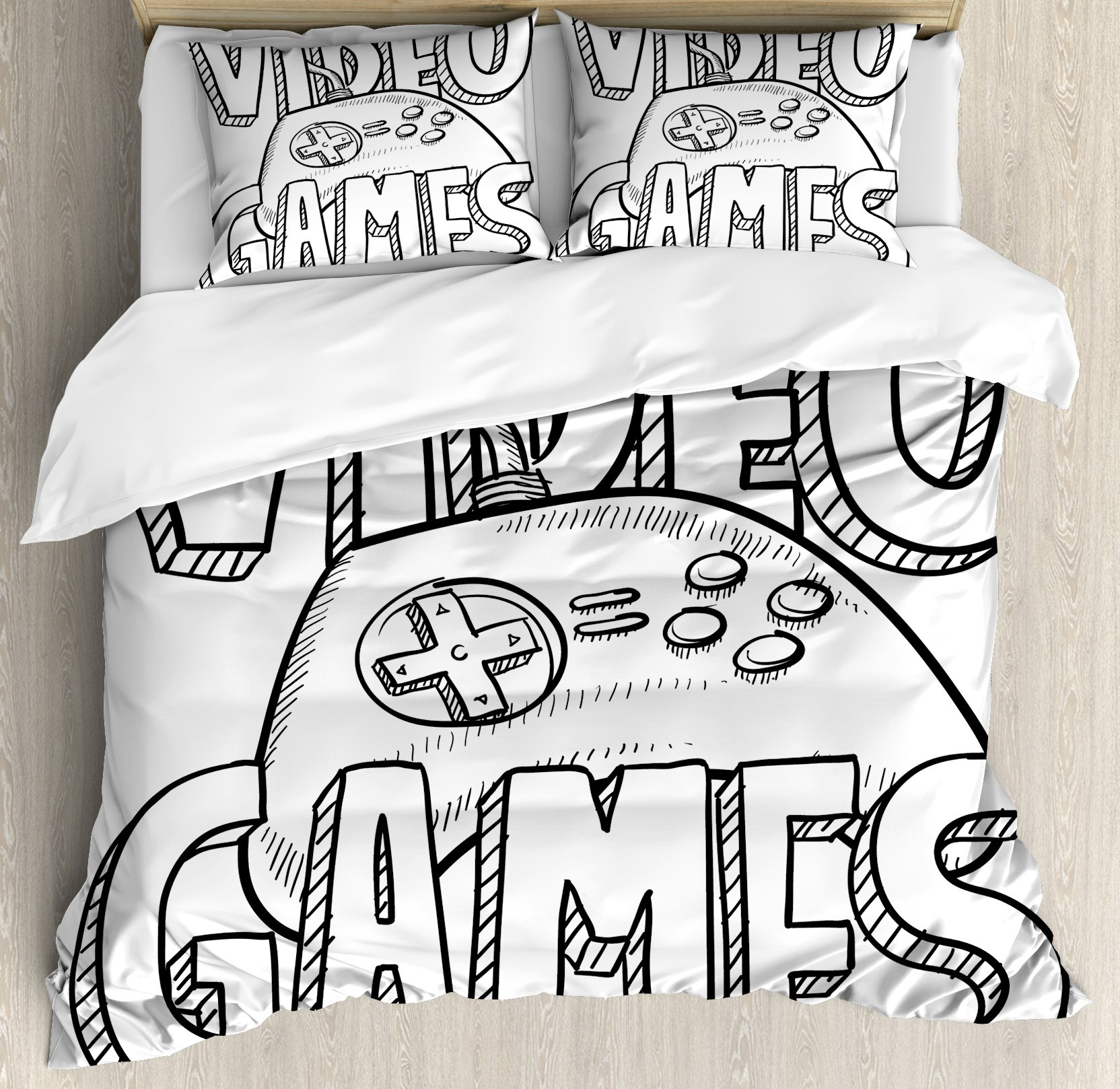 Boy's Room Duvet Cover Set Queen Size by Lunarable, Doodle Style Video Games Typography Design with a Controller Sketch Artwork, Decorative 3 Piece Bedding Set with 2 Pillow Shams, Black White