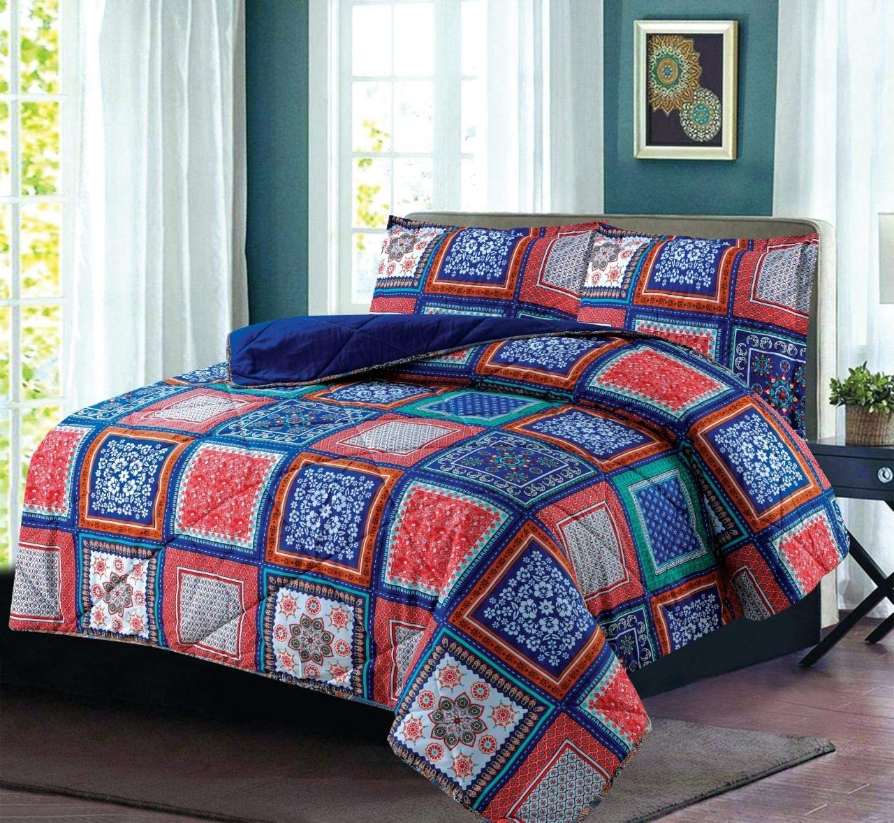 Amber SleepyNights Quilted Boho Grey Orange Floral Bedspread Throwover with Pillowshams