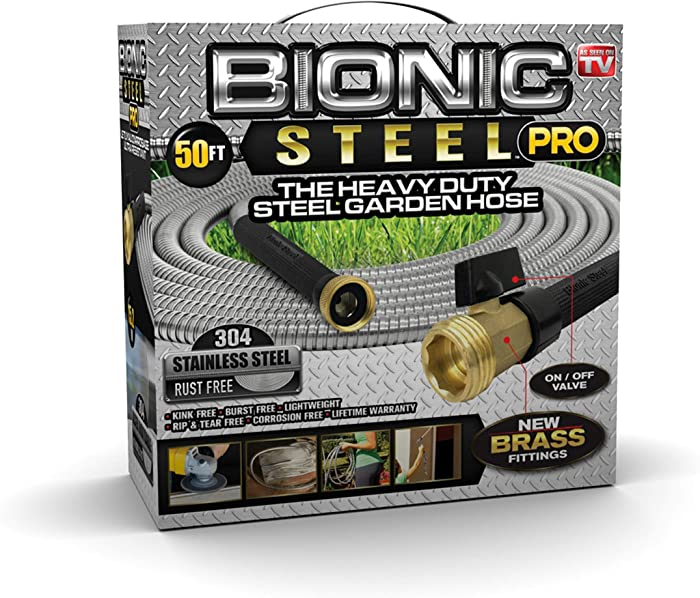 Bionic Steel PRO Garden Hose - 304 Stainless Steel Metal 50 Foot Garden Hose – Heavy Duty Lightweight, Kink-Free, and Stronger Than Ever with Brass Fittings and On/Off Valve – 2019 Model