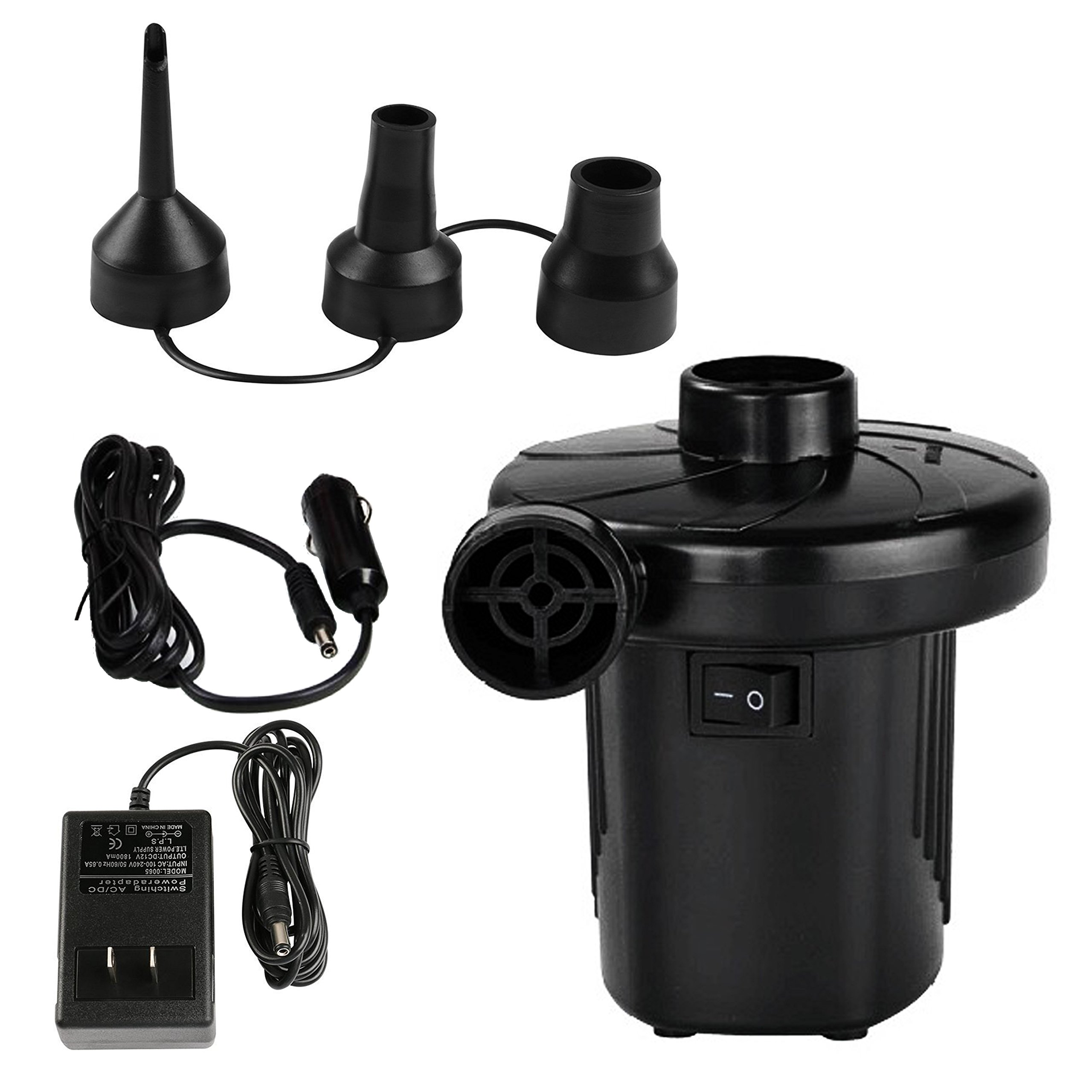 Quick-Fill AC/DC Electric Air Pump, Home/Car(dual-use) DC 12V/AC 110-240V Airflow 200L/min Equipped with 3 Interconnection Nozzles