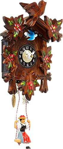 Alexander Taron 0126-6SQ Engstler Battery-Operated Clock – Mini Size with Music Chimes – 6.75 H x 5 W x 2.75 D, Brown