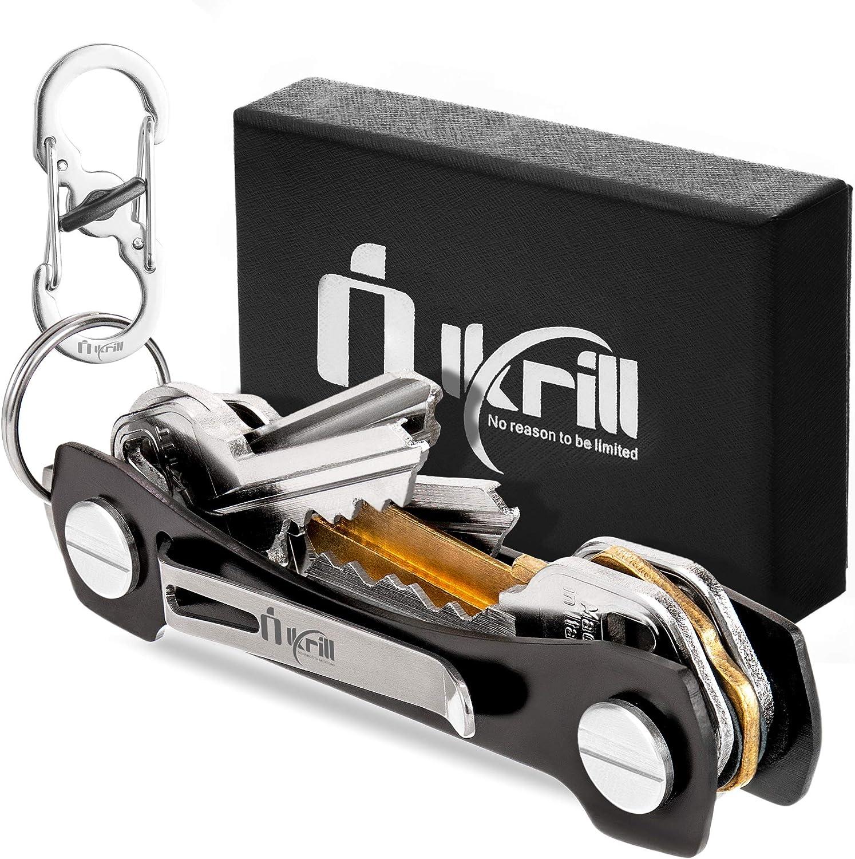 Compact Smart Key Holder Organizer Clip Folder Keyring Keychain Key Storage Gold