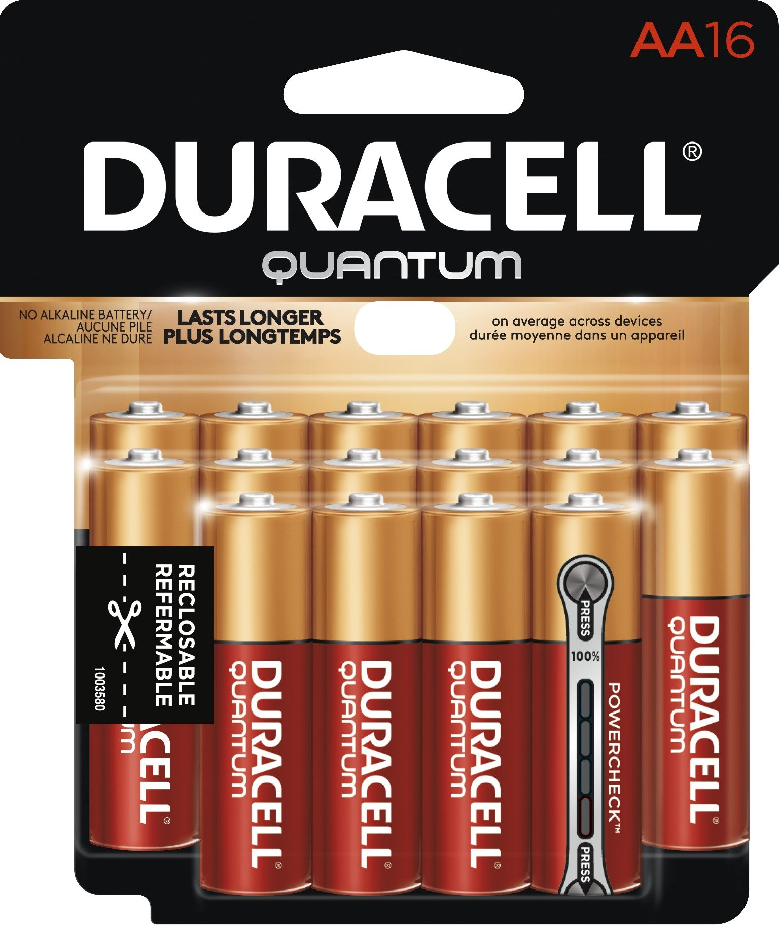 Duracell - Quantum AA Alkaline Batteries - long lasting, all-purpose Double A battery for household and business - 16 count