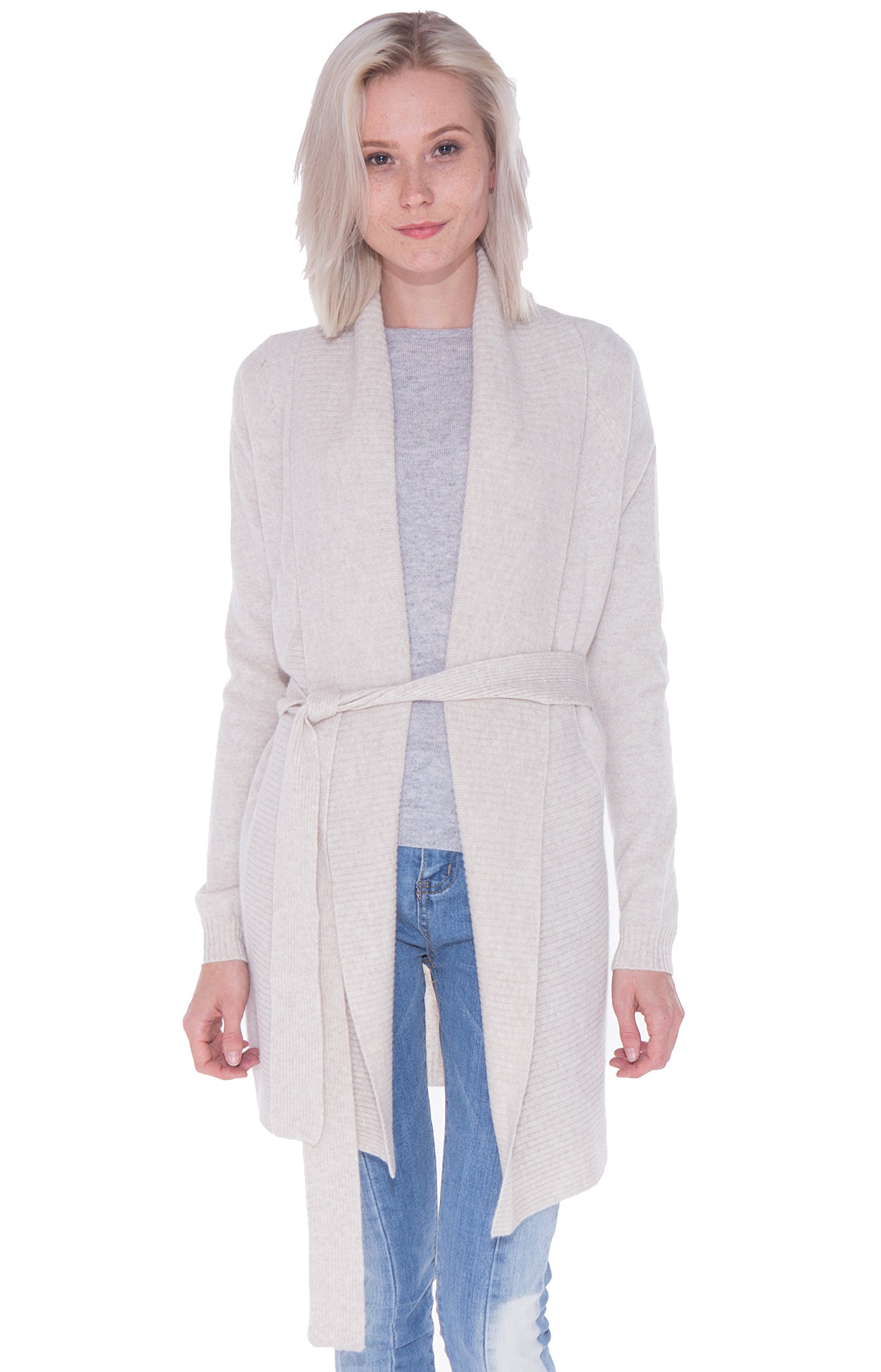 LEBAC Women's 100% Cashmere Ribbed Shawl Collar Long Cardigan Waist Tie Jacket
