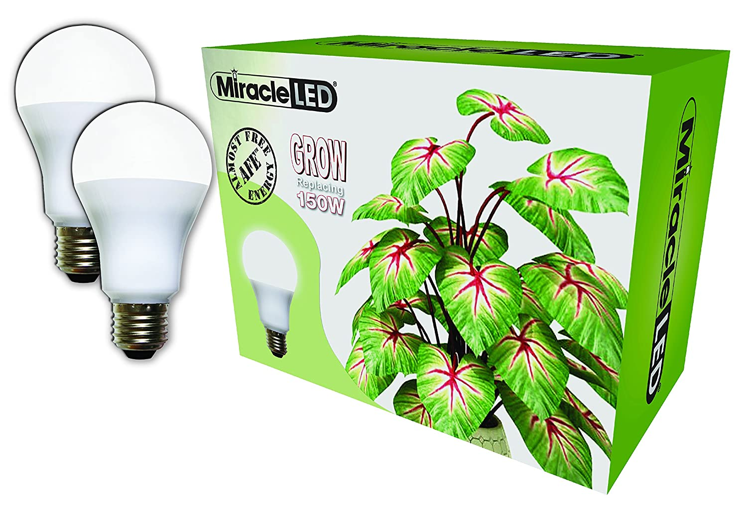 Miracle LED Almost Free Energy 150W Commercial Hydroponic Ultra Grow Lite - Daylight White Full Spectrum LED Indoor Plant Growing Light Bulb For DIY Horticulture & Indoor Gardening (604305) 2Pack