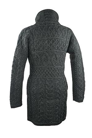 4566583118d Amazon.com: 100% Irish Merino Wool Double Collar Aran Knit Coat by West End  Knitwear: Clothing