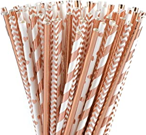 ALINK Biodegradable Rose Gold Paper Straws Bulk, Pack of 100 Metallic Foil Striped/Wave/Heart Straws for Birthday, Wedding, Bridal/Baby Shower, Celebrations and Party Supplies