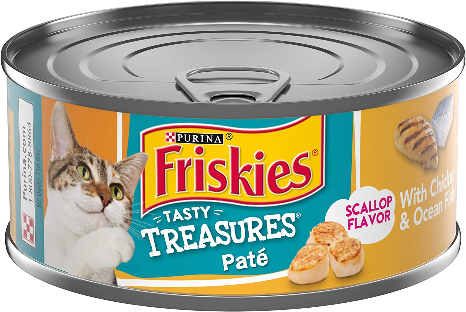 Purina Friskies Pate Wet Cat Food, Tasty Treasures With Chicken & Ocean Fish and Scallop Flavor - (24) 5.5 oz. Cans