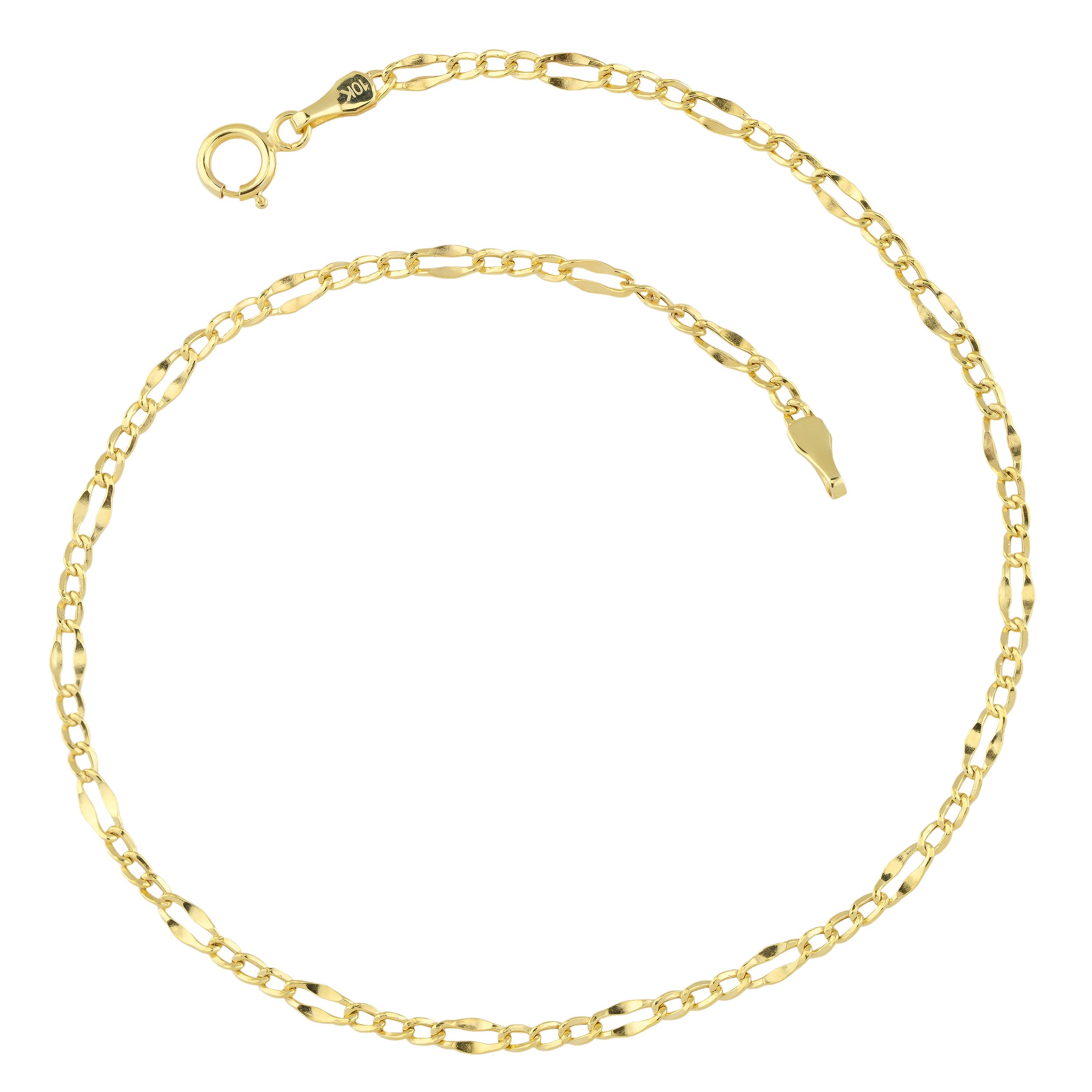 10k Yellow Gold Figaro Link Anklet (2.3mm, 9 inch)