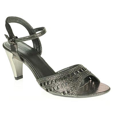 AARZ LONDON Frau Damen Kristall Diamant Abend Party Abschlussball Beiläufig Keilabsatz Schlüpfen Sandalen Gold Schuhe Größe 37 5HQGt74