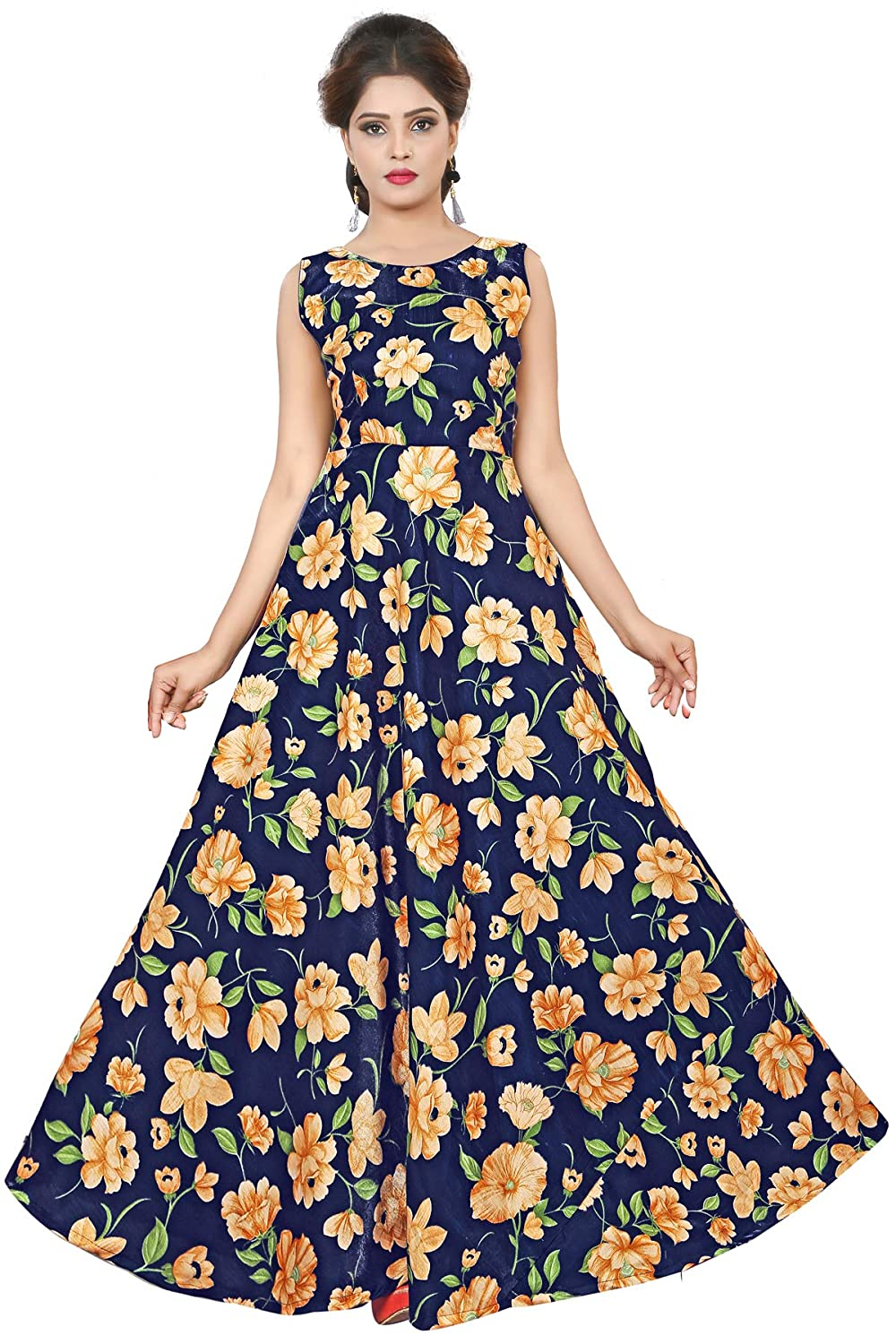 8e05f1c707 Clothfab Women s Cotton Digital Printed Anarkali Long Gown (Blue)   Amazon.in  Clothing   Accessories