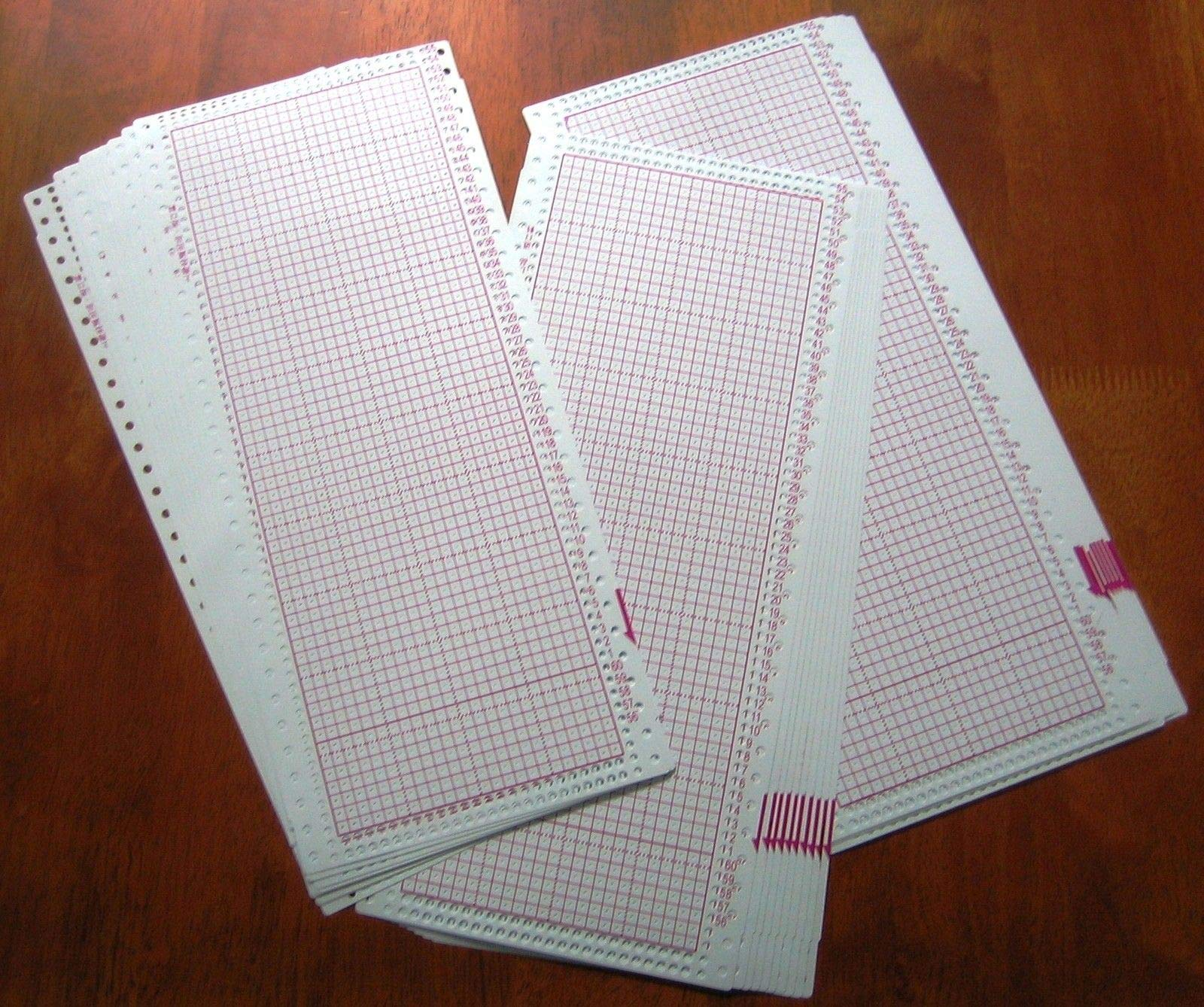 30 Blank PUNCHCARD 24 Stitch Machine Knitting Brother/SilverReed/Studio/Singer