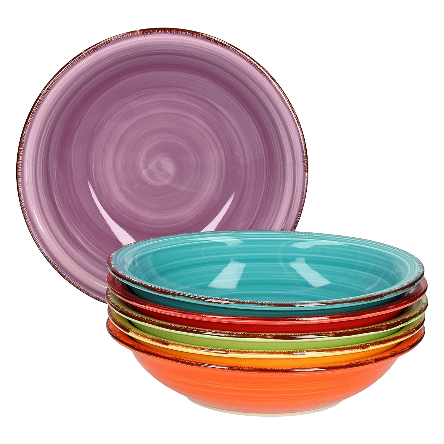 MamboCat 6-TLG Lot de Assiettes Creuses en Porcelaine Multicolore 750 ML