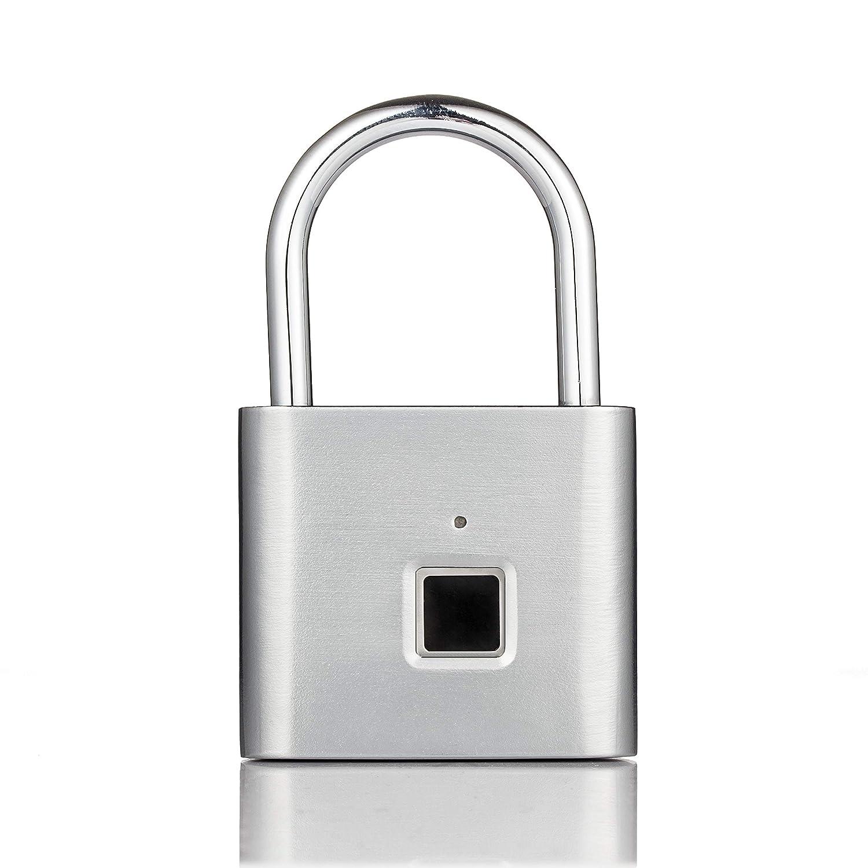 Elegantamazing Candado de Seguridad sin Llave USB Recargable para Puerta con Huella Dactilar Chip de Desarrollo autom/ático para ConsumerElectronics liberaci/ón r/ápida aleaci/ón de Zinc