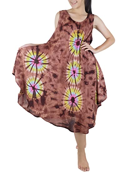 201824a213 Iyara Rayon Tie Dye Cover up Casual Sleeveless Short Beach Dress (Brown) at  Amazon Women's Clothing store: