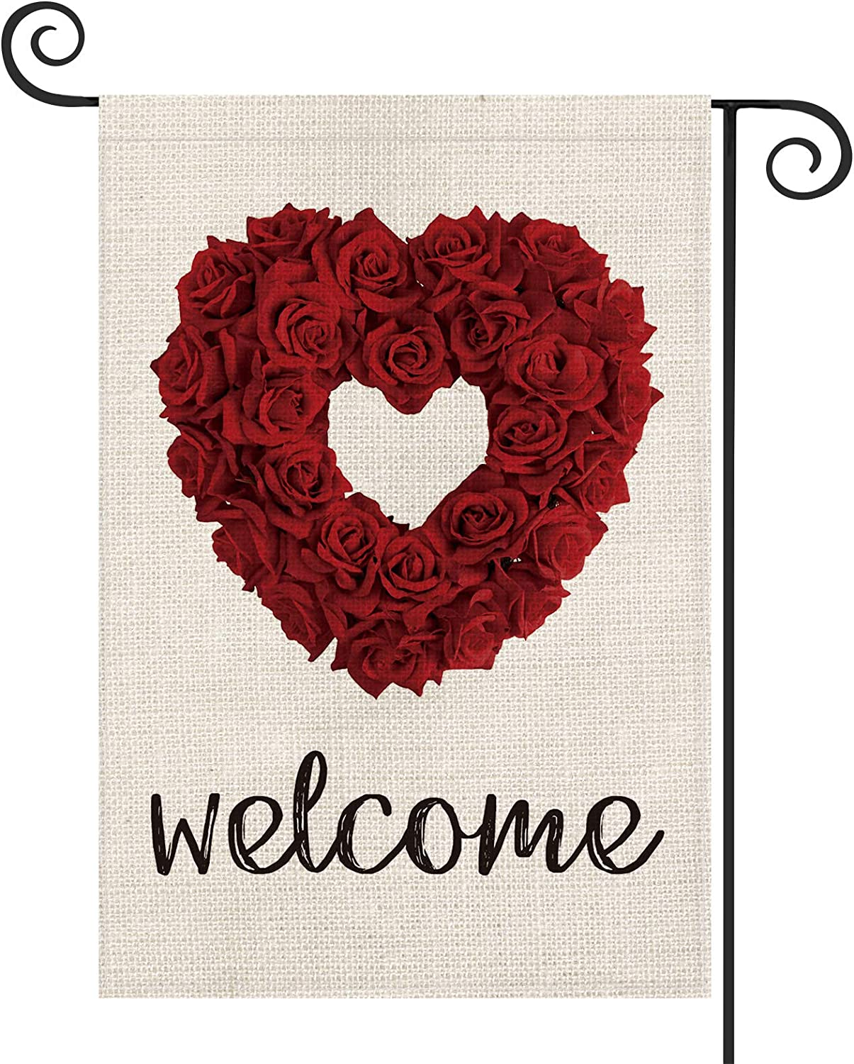 AVOIN Welcome Rose Love Heart Valentine's Day Garden Flag Vertical Double Sized, Holiday Anniversary Wedding Yard Outdoor Decoration 12.5 x 18 Inch