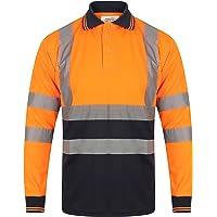 YCC® Polo de manga larga para hombre, de alta visibilidad, seguridad de trabajo, transpirable, dos tonos, cinta…
