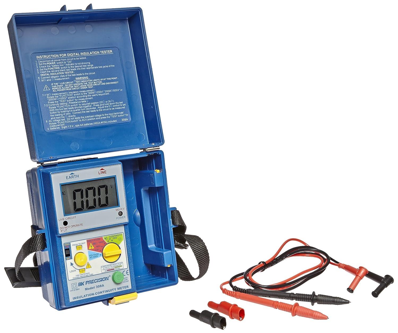 Bk Precision 308a Digital Megohmmeter Insulation And Waterproof Lcd Electrical Voltage Continuity Circuit Tester 250 500 1000v Test Voltages 2000 Megohms Resistance