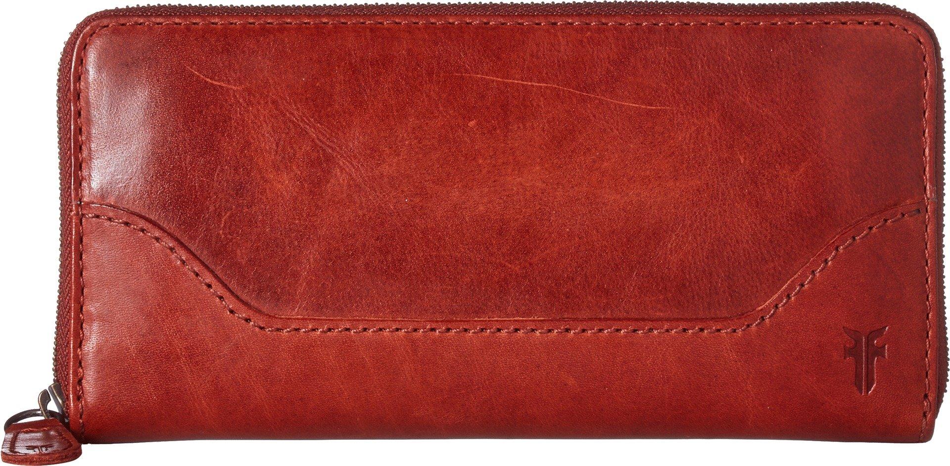 FRYE Melissa Zip Around Leather Wallet, red Clay