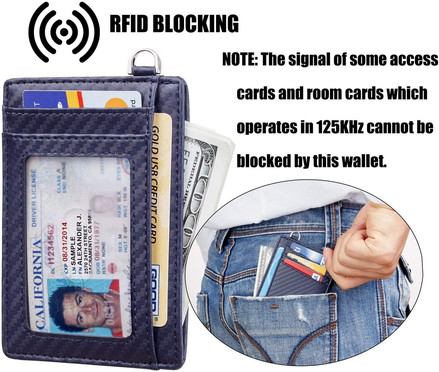 Casmonal Slim Minimalist Front Pocket Wallets RFID Blocking Credit Card Holder for Men /& Women Carbon Fiber Texture Navy Blue