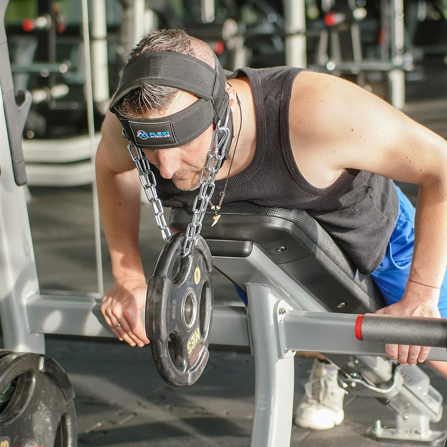 Built with Heavy Duty D-Rings and Chain to Ensure Stability and Ability to Build Muscle Strength Greatly Padded a Flexi Muscle Neck Head Harness for Strength Resistance Training and Injury Recovery