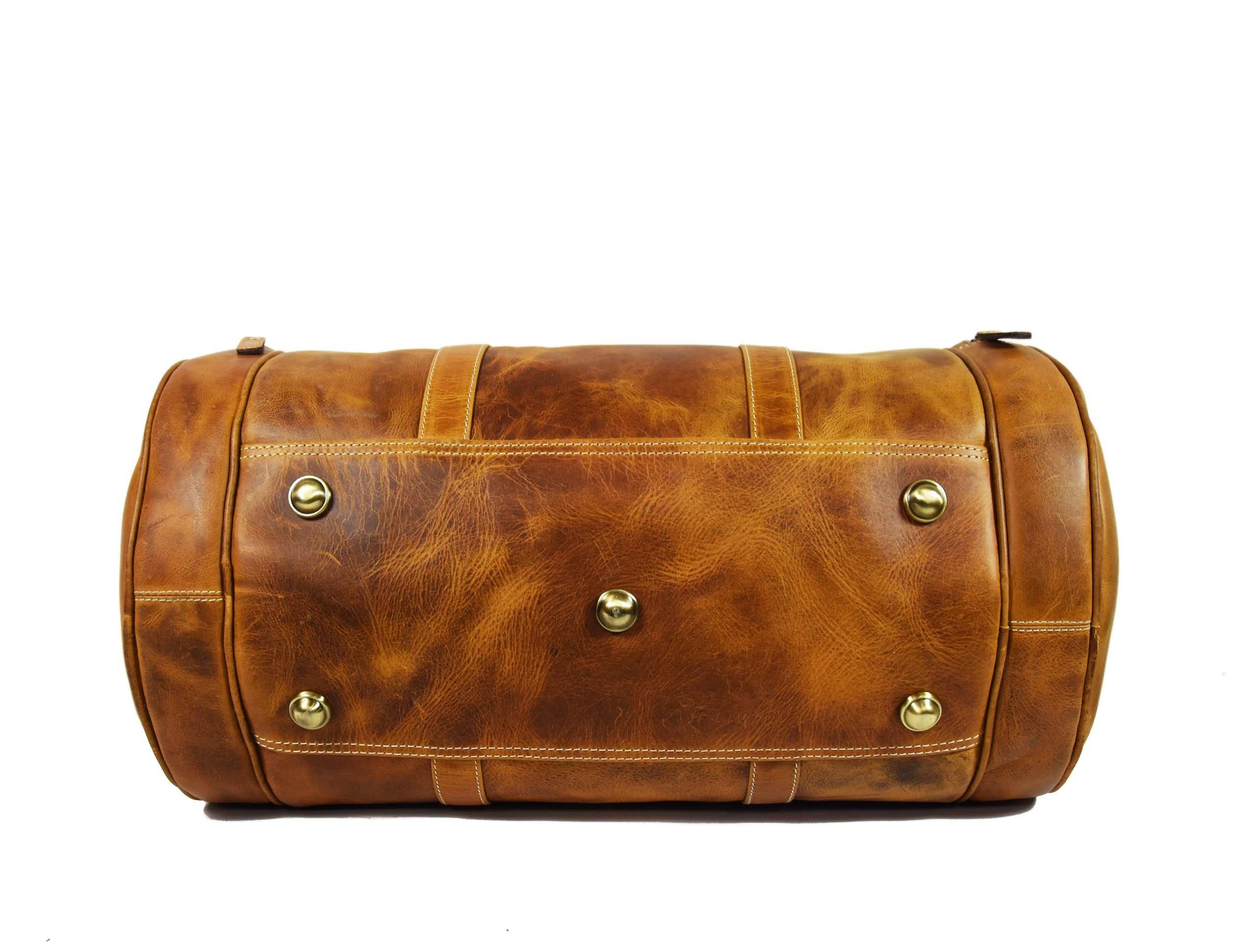 Travel Duffel Overnight Barrel Weekend Leather Bag by Aaron Leather (Brown) by Aaron Leather (Image #5)