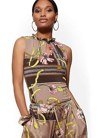 38a45041e9 Amazon.com: New York & Co. Women's Mixed-Print Ruffled Sleeveless Top - 7Th  Avenue: Clothing