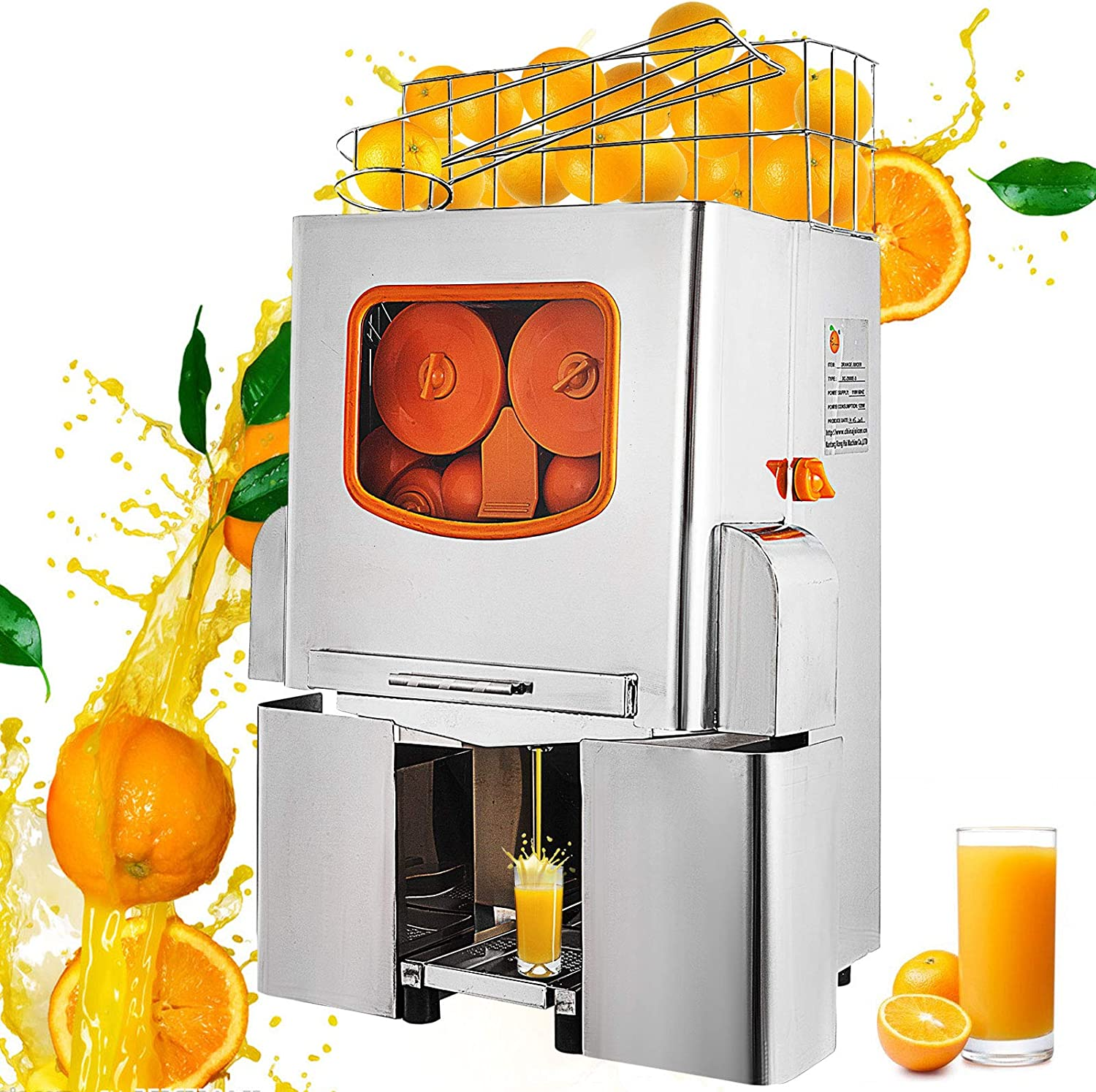 VBENLEM 110V Electric Orange Juicer Commercial Squeezer Machine Lemon Automatic Auto Feed Supermarkets 22-30 Per Minute 304 Tank+Stainless Steel Cover Perfect for Drink Bar and Home