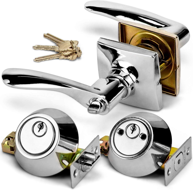SteadMax Entry Door Combo Lock Set, Front Door Handle and Double Cylinder Deadbolt Knob Locks Set, Alike Keyed, Chrome