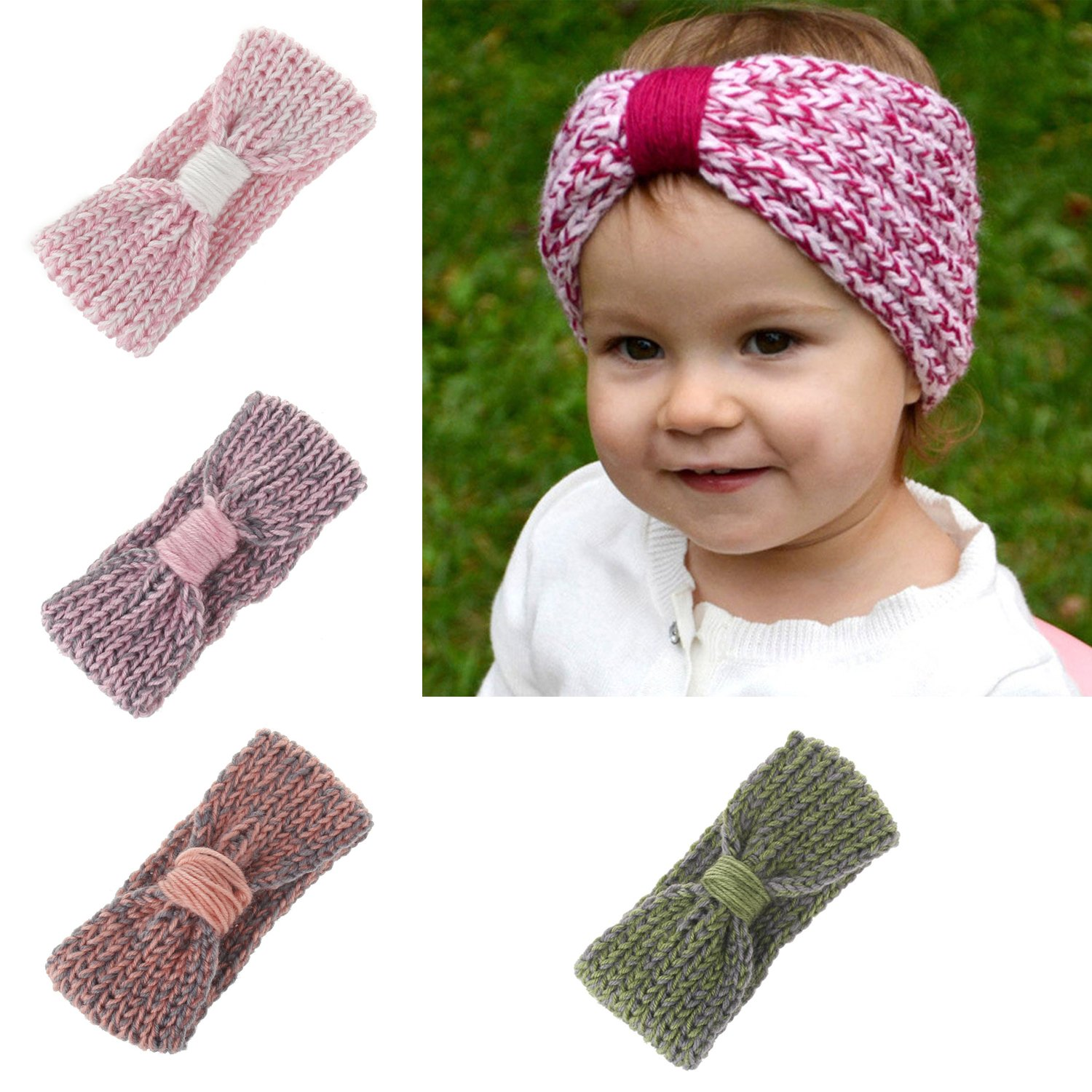 Amazon.com  Baby Toddler Little Girl Winter Cute Bowknot Crochet Knit  Headband Hairband Ear Warmer (4 Colors Pack - B)  Clothing ac22fdefceb