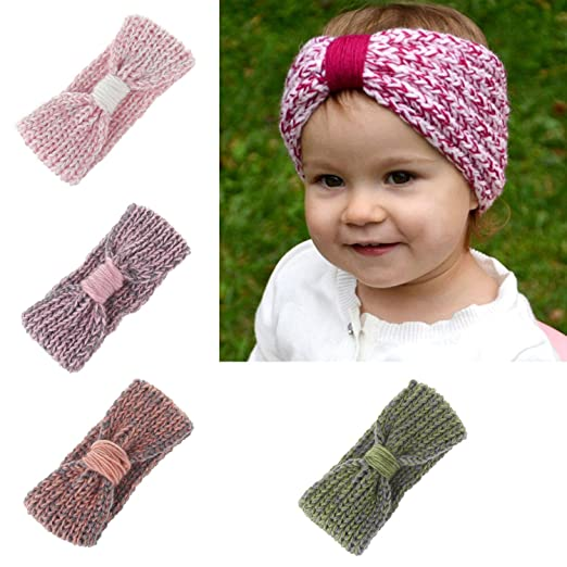 Baby Toddler Little Girl Winter Cute Bowknot Crochet Knit Headband Hairband  Ear Warmer (4 Colors ea1f63f05b1