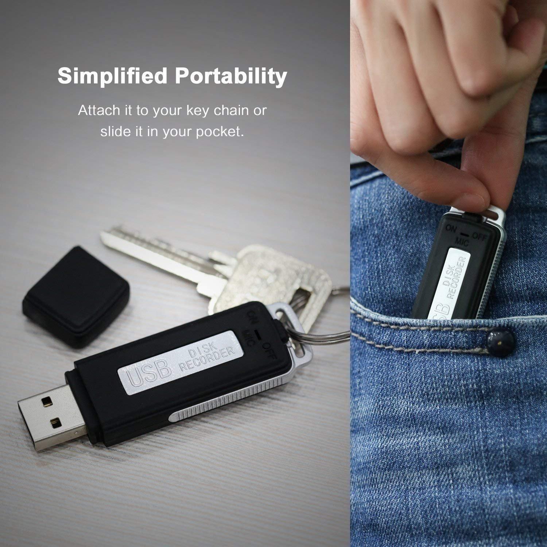 Mini Voice Recorder,Lgsixe 16GB Small USB Recording Compatible with Windows,Slim Digital Sound Audio Record Device Black